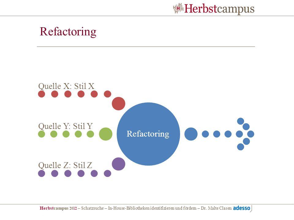 Refactoring Refactoring Quelle X: Stil X Quelle Y: Stil Y