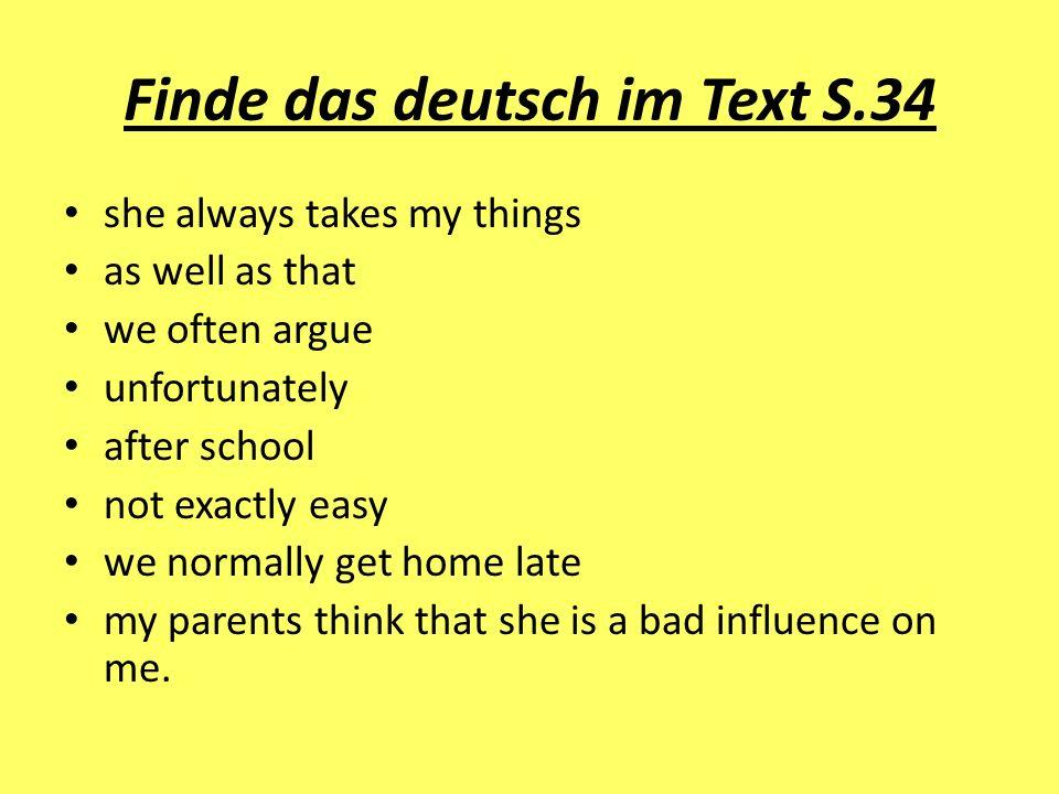 Finde das deutsch im Text S.34