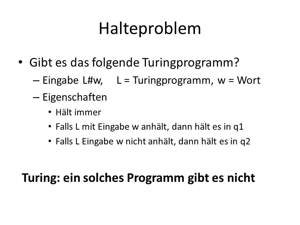 Halteproblem Gibt es das folgende Turingprogramm