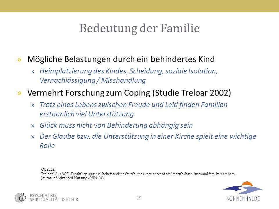 Bedeutung der Familie Mögliche Belastungen durch ein behindertes Kind