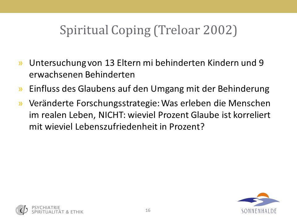 Spiritual Coping (Treloar 2002)