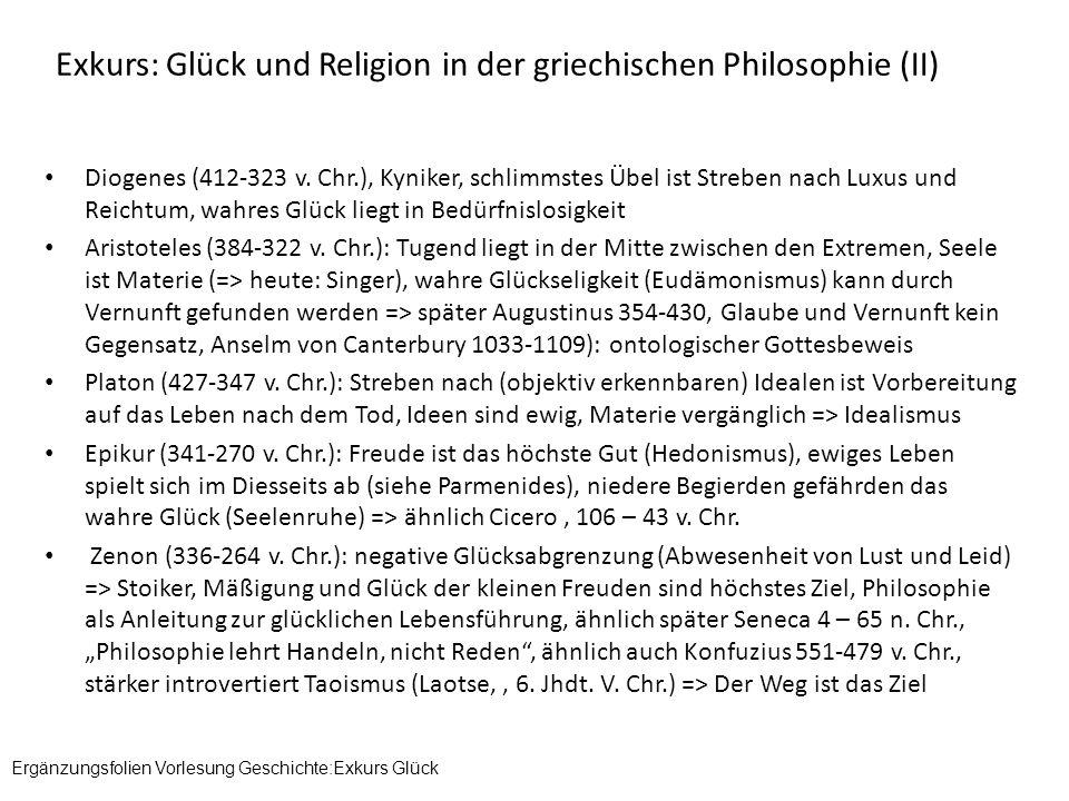 Exkurs: Glück und Religion in der griechischen Philosophie (II)