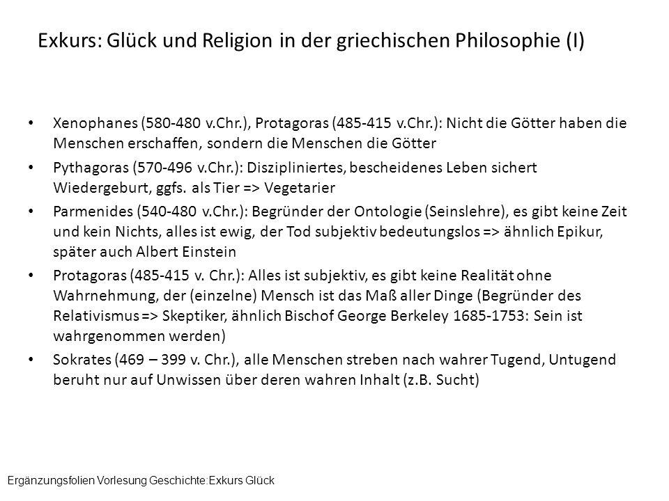 Exkurs: Glück und Religion in der griechischen Philosophie (I)