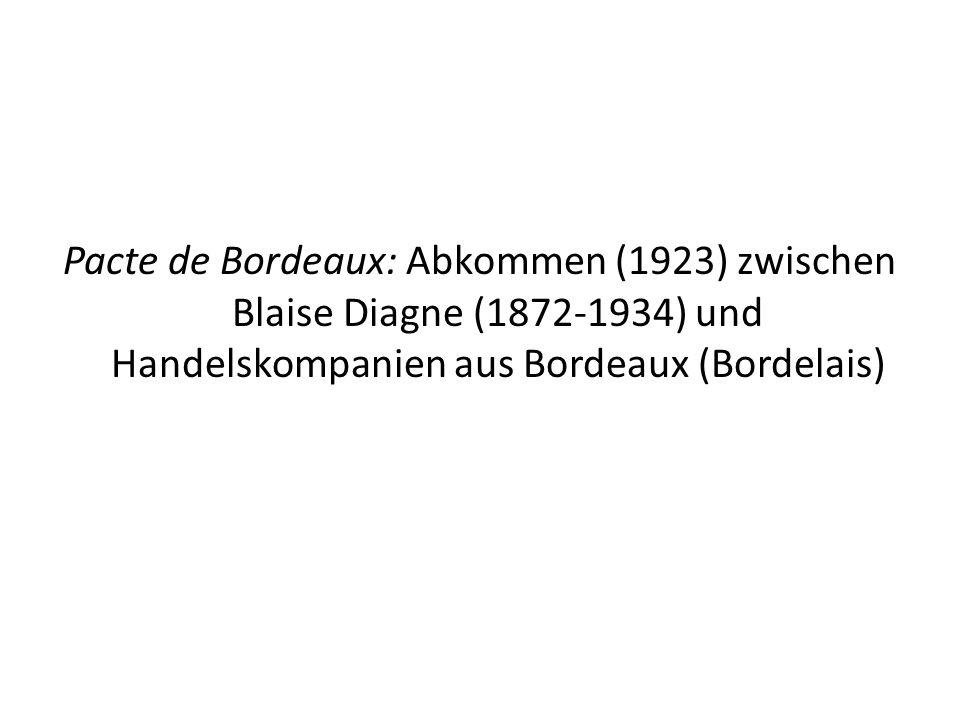 Pacte de Bordeaux: Abkommen (1923) zwischen Blaise Diagne (1872-1934) und Handelskompanien aus Bordeaux (Bordelais)