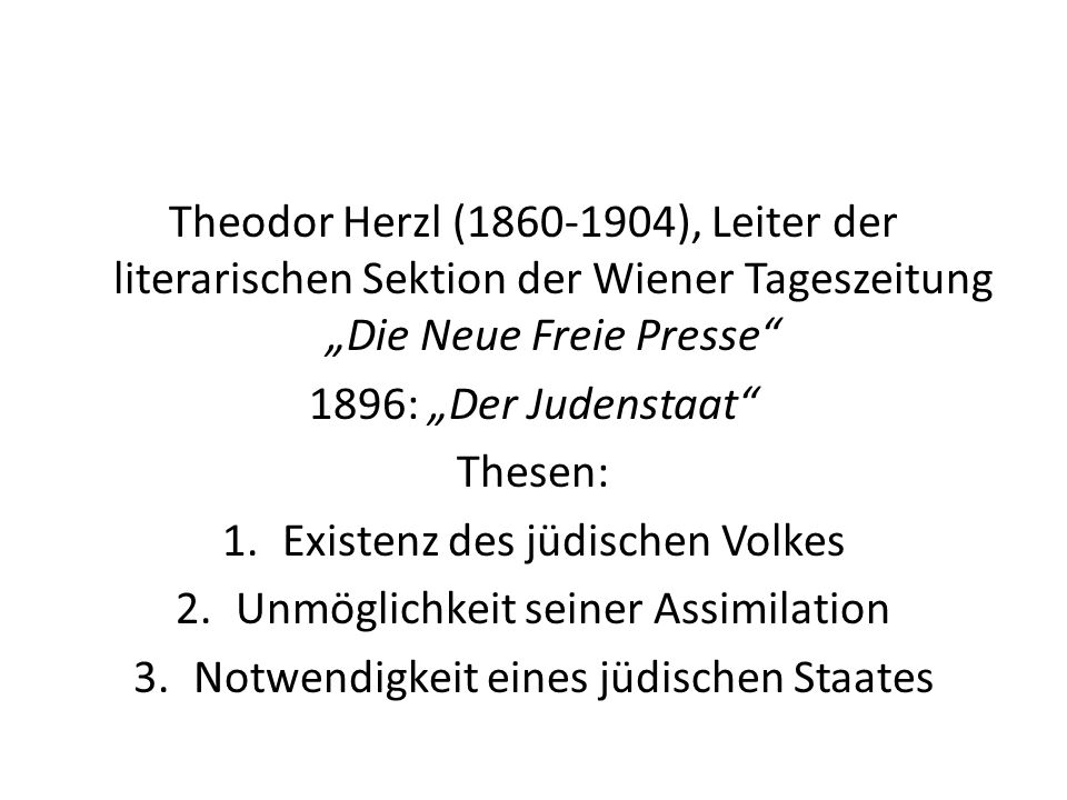 Existenz des jüdischen Volkes Unmöglichkeit seiner Assimilation