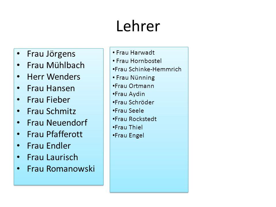 Lehrer Frau Jörgens Frau Mühlbach Herr Wenders Frau Hansen Frau Fieber