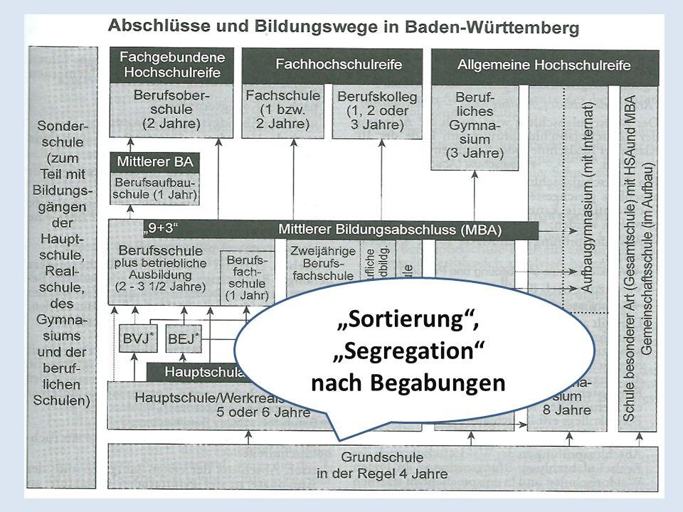 """""""Sortierung , """"Segregation nach Begabungen"""