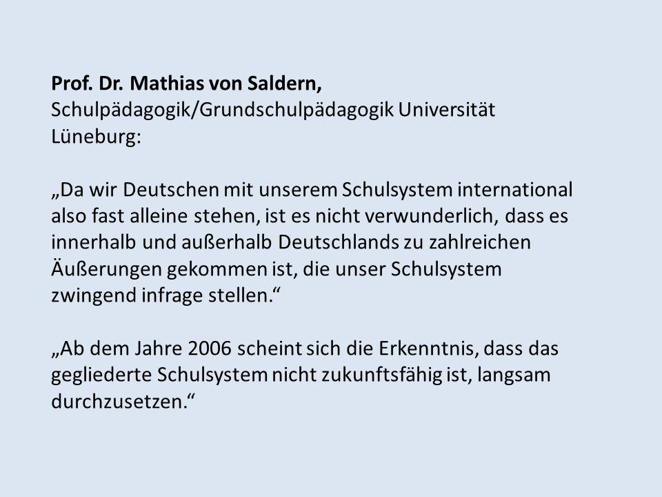 Prof. Dr. Mathias von Saldern, Schulpädagogik/Grundschulpädagogik Universität Lüneburg: