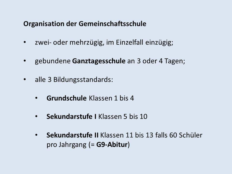 Organisation der Gemeinschaftsschule