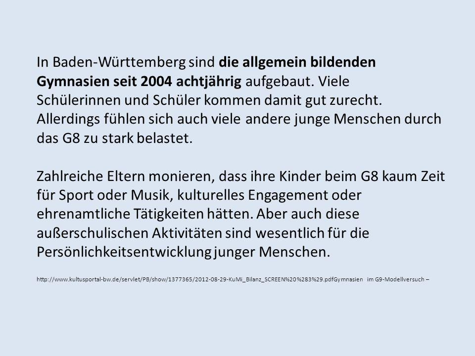 In Baden-Württemberg sind die allgemein bildenden
