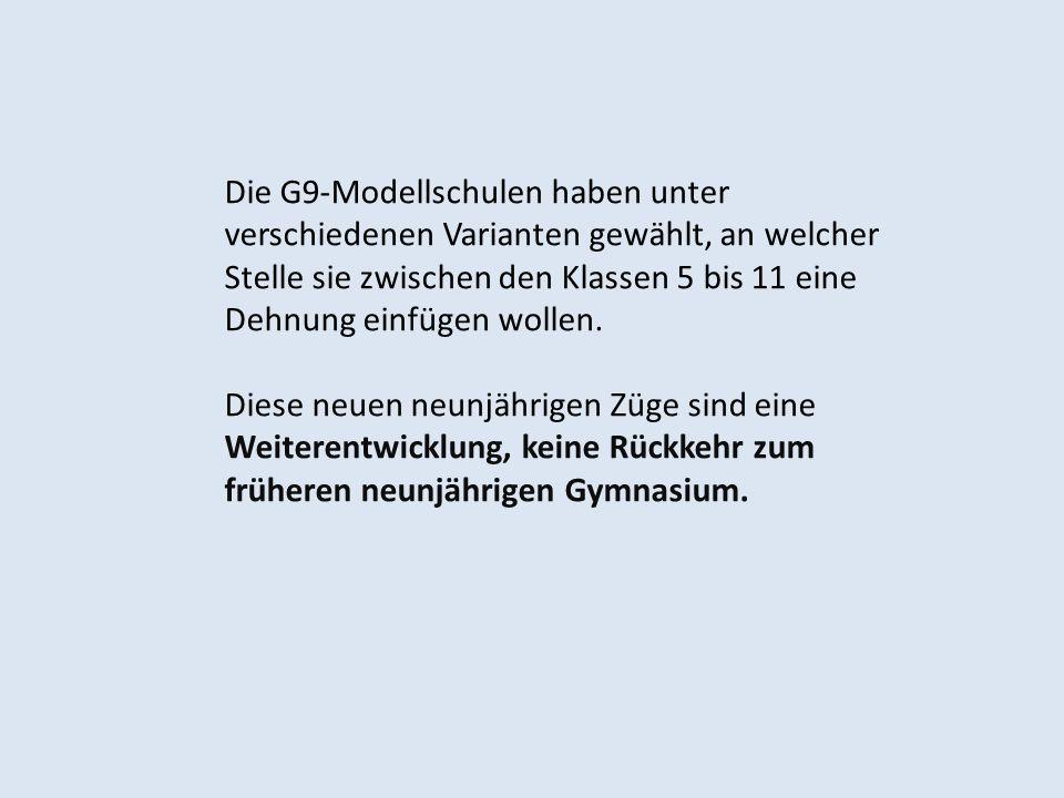 Die G9-Modellschulen haben unter verschiedenen Varianten gewählt, an welcher Stelle sie zwischen den Klassen 5 bis 11 eine Dehnung einfügen wollen.