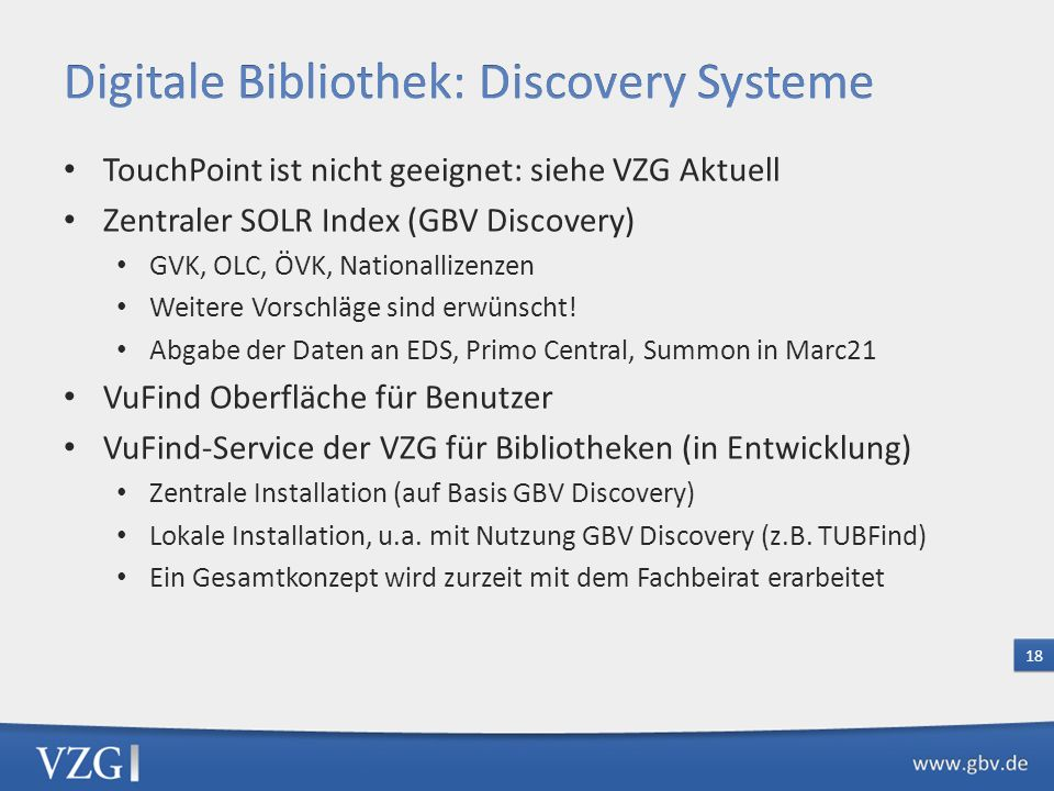 Digitale Bibliothek: Discovery Systeme