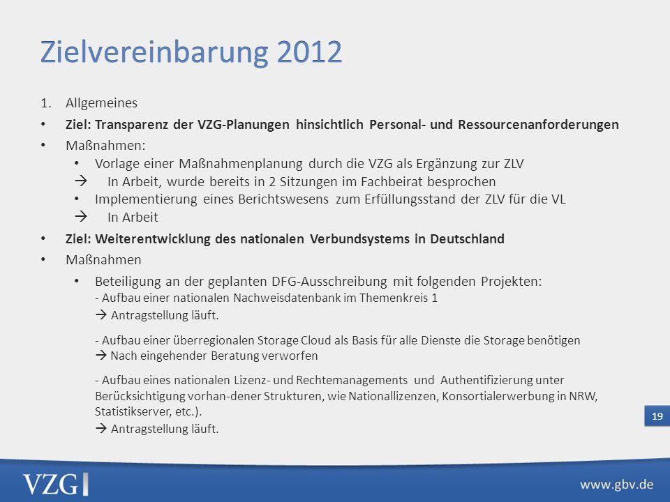 Zielvereinbarung 2012 Allgemeines
