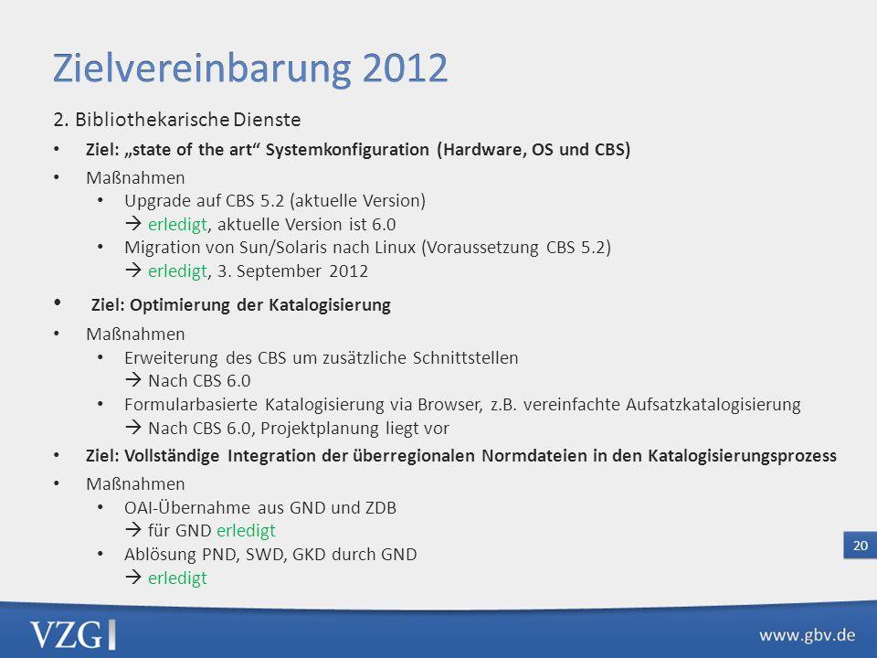 Zielvereinbarung 2012 Ziel: Optimierung der Katalogisierung
