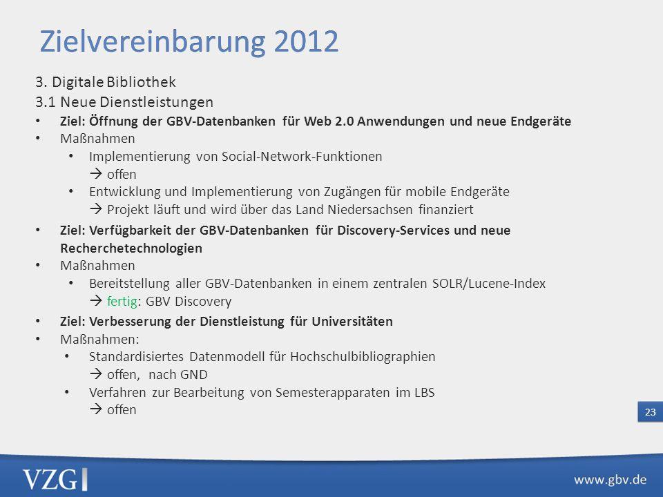 Zielvereinbarung 2012 3. Digitale Bibliothek 3.1 Neue Dienstleistungen