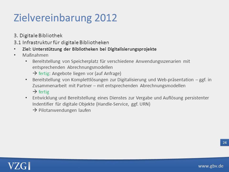 Zielvereinbarung 2012 3. Digitale Bibliothek 3.1 Infrastruktur für digitale Bibliotheken.