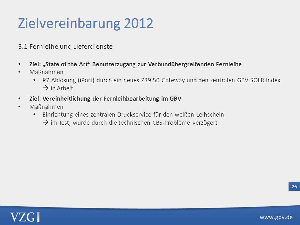 Zielvereinbarung 2012 3.1 Fernleihe und Lieferdienste