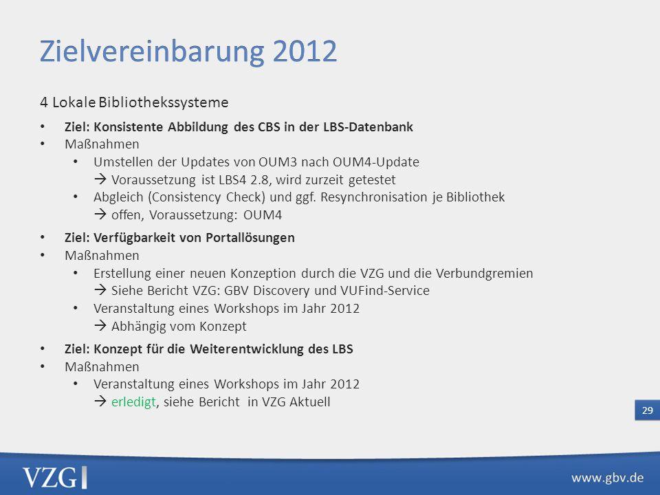 Zielvereinbarung 2012 4 Lokale Bibliothekssysteme