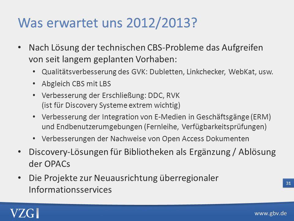 Was erwartet uns 2012/2013 Nach Lösung der technischen CBS-Probleme das Aufgreifen von seit langem geplanten Vorhaben: