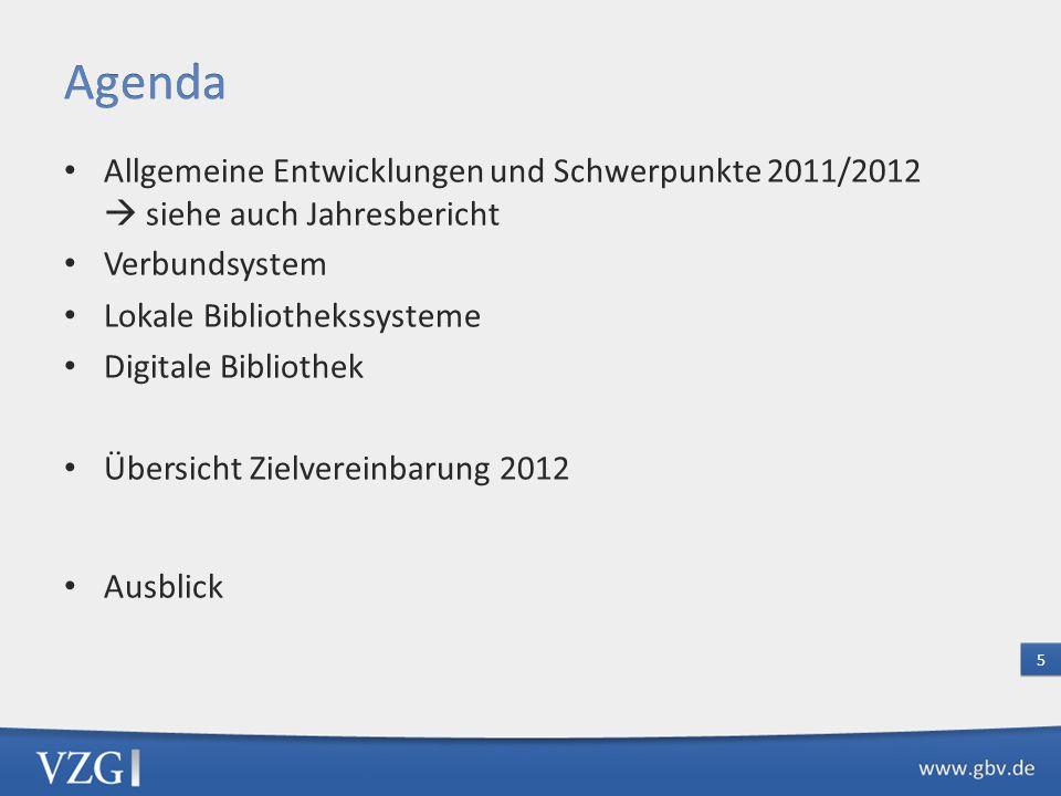 Agenda Allgemeine Entwicklungen und Schwerpunkte 2011/2012  siehe auch Jahresbericht. Verbundsystem.