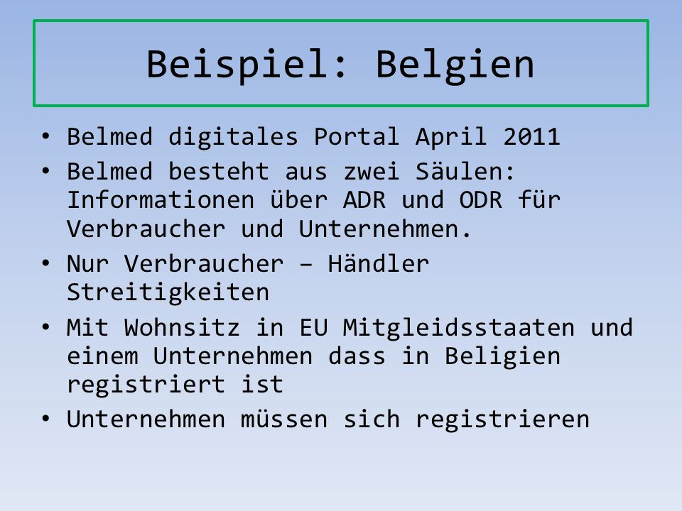 Beispiel: Belgien Belmed digitales Portal April 2011