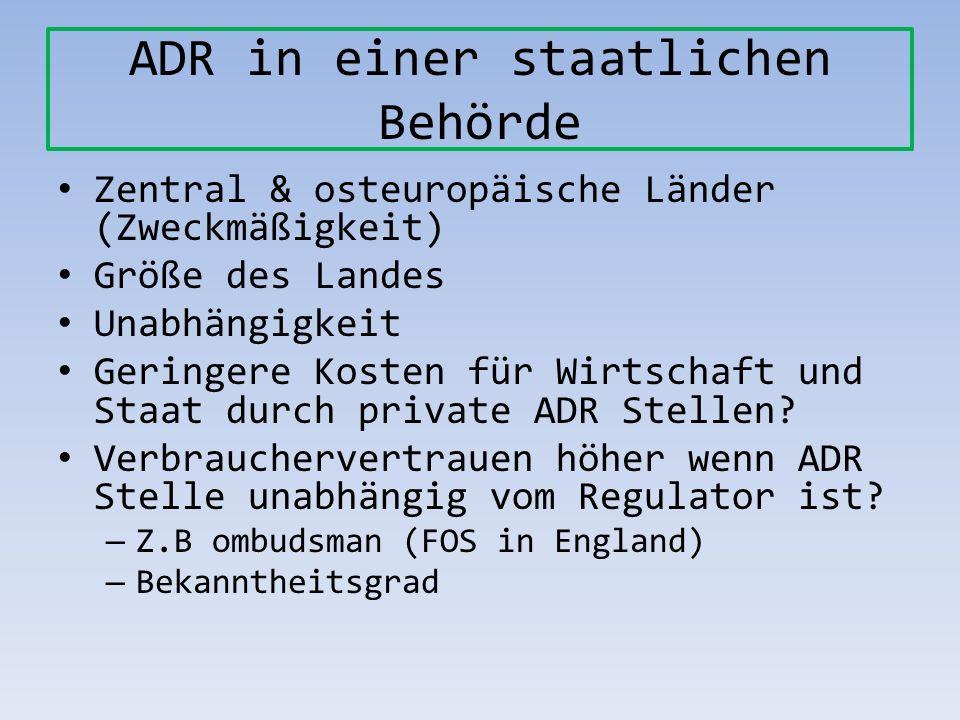 ADR in einer staatlichen Behörde