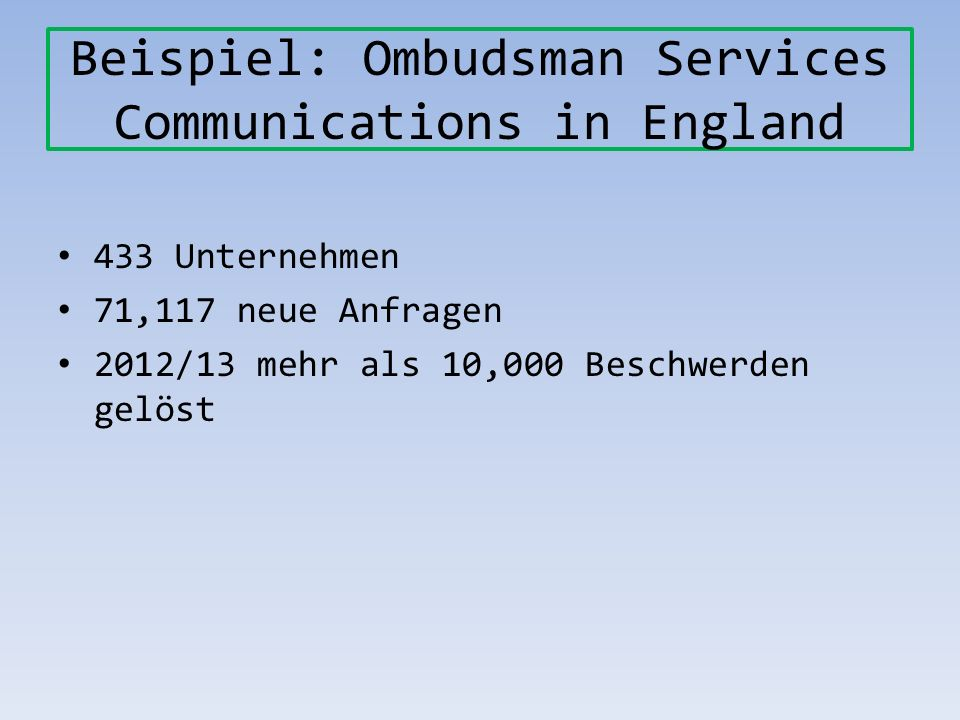 Beispiel: Ombudsman Services Communications in England