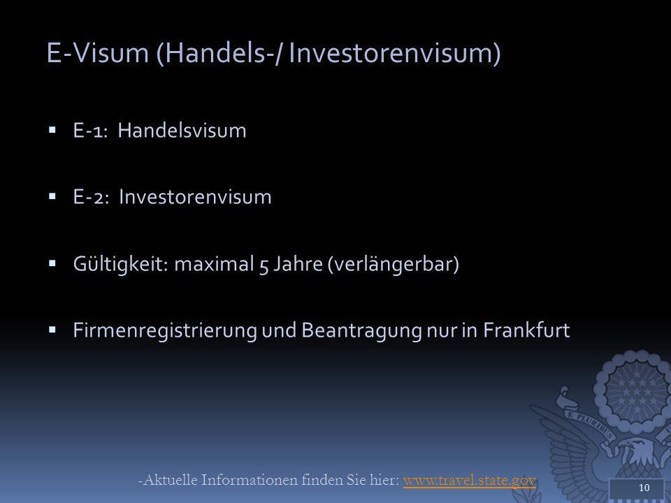 E-Visum (Handels-/ Investorenvisum)