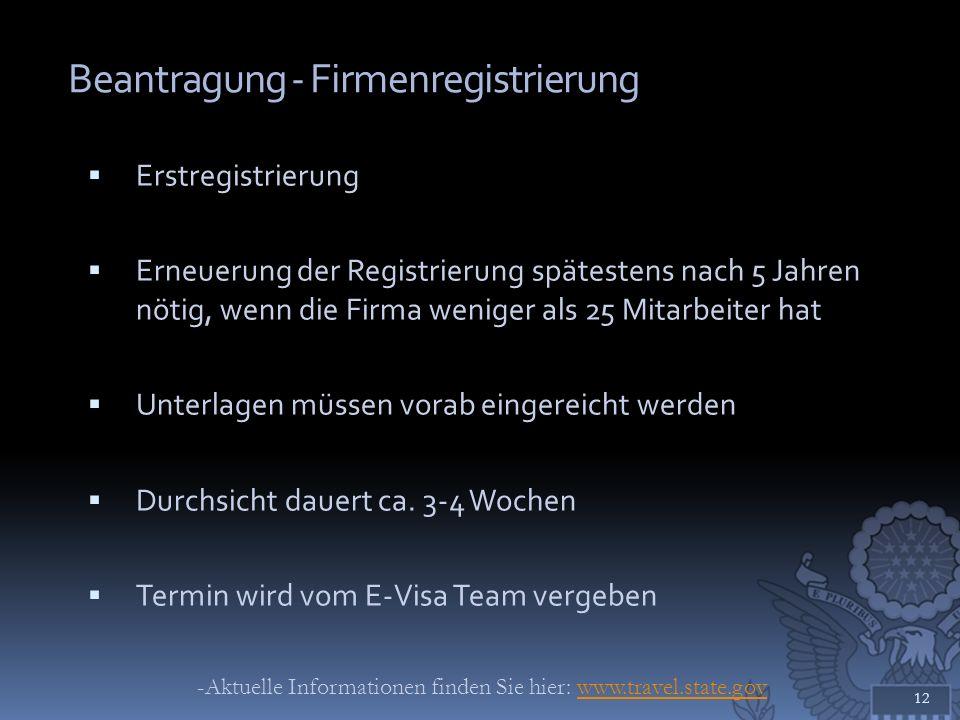 Beantragung - Firmenregistrierung