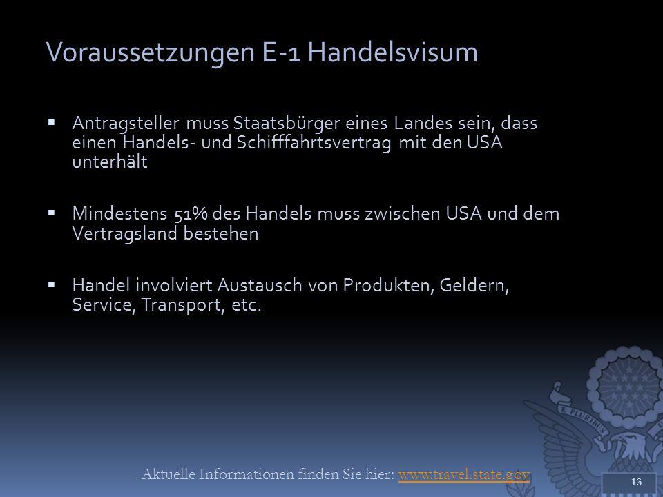 Voraussetzungen E-1 Handelsvisum