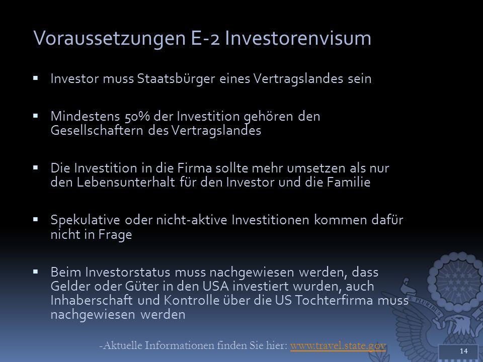 Voraussetzungen E-2 Investorenvisum
