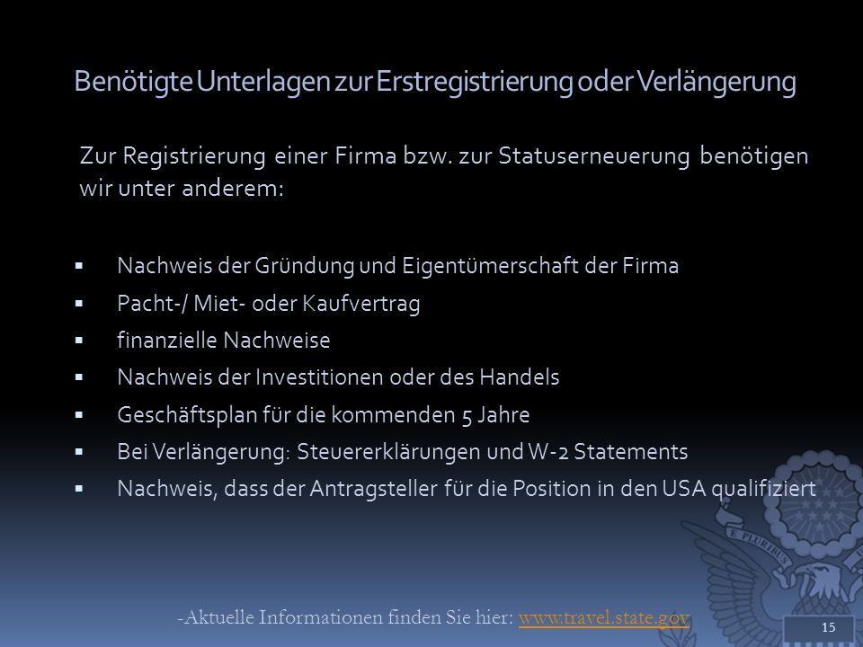 Benötigte Unterlagen zur Erstregistrierung oder Verlängerung