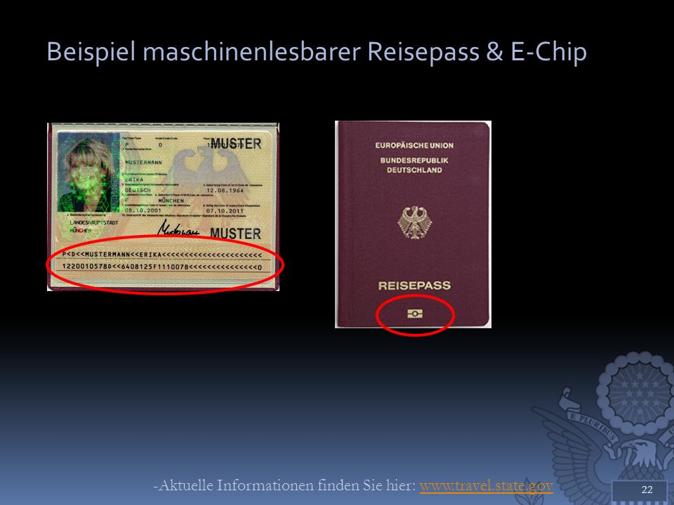 Beispiel maschinenlesbarer Reisepass & E-Chip