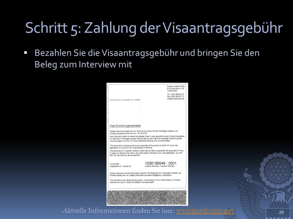 Schritt 5: Zahlung der Visaantragsgebühr