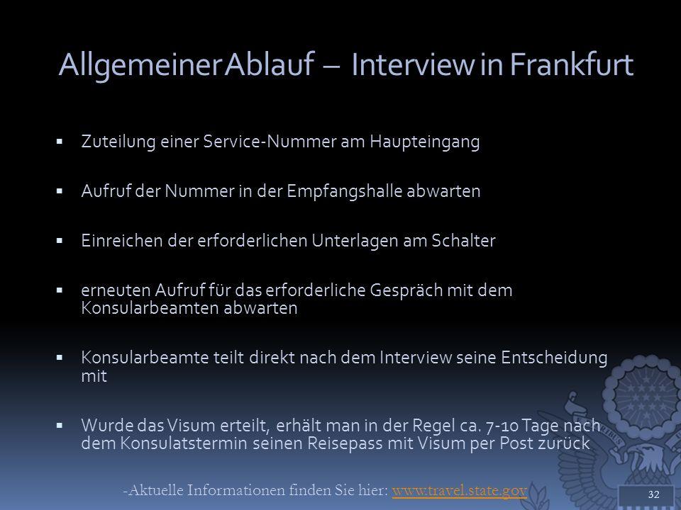 Allgemeiner Ablauf – Interview in Frankfurt