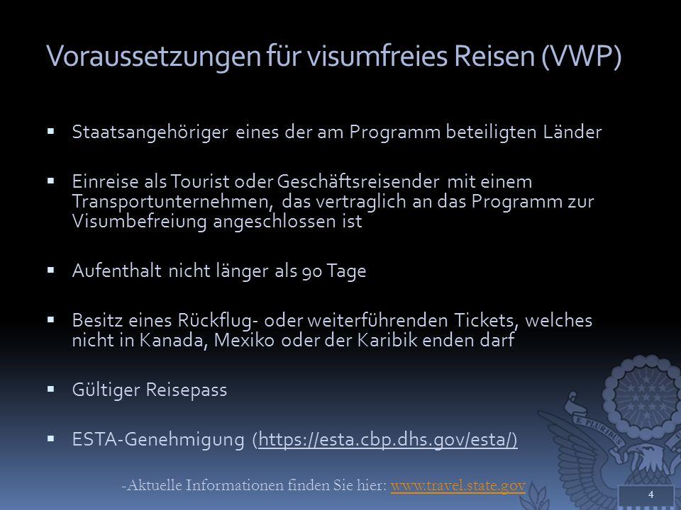 Voraussetzungen für visumfreies Reisen (VWP)