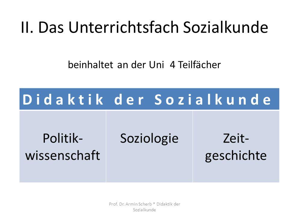II. Das Unterrichtsfach Sozialkunde
