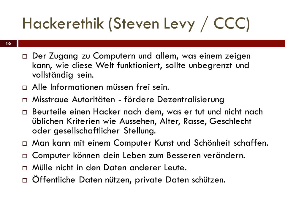 Hackerethik (Steven Levy / CCC)
