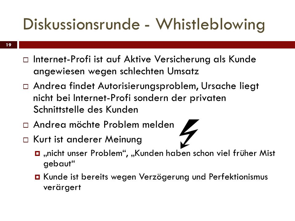 Diskussionsrunde - Whistleblowing
