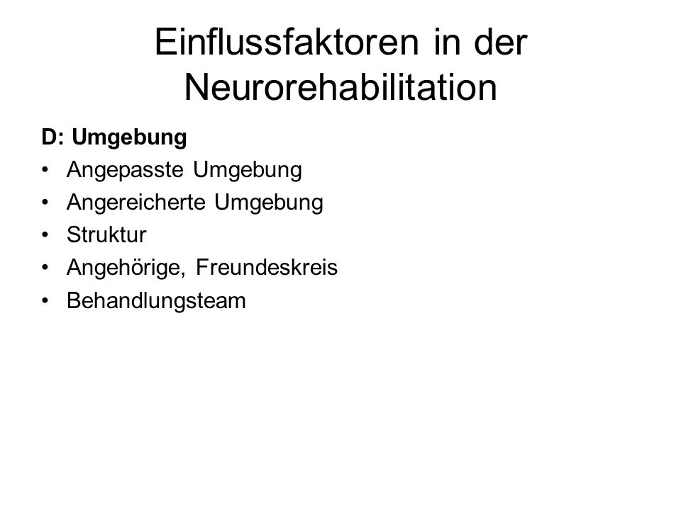 Einflussfaktoren in der Neurorehabilitation