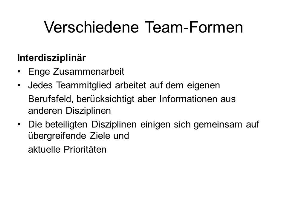 Verschiedene Team-Formen
