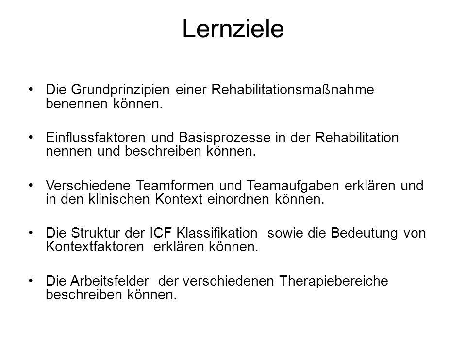 Lernziele Die Grundprinzipien einer Rehabilitationsmaßnahme benennen können.