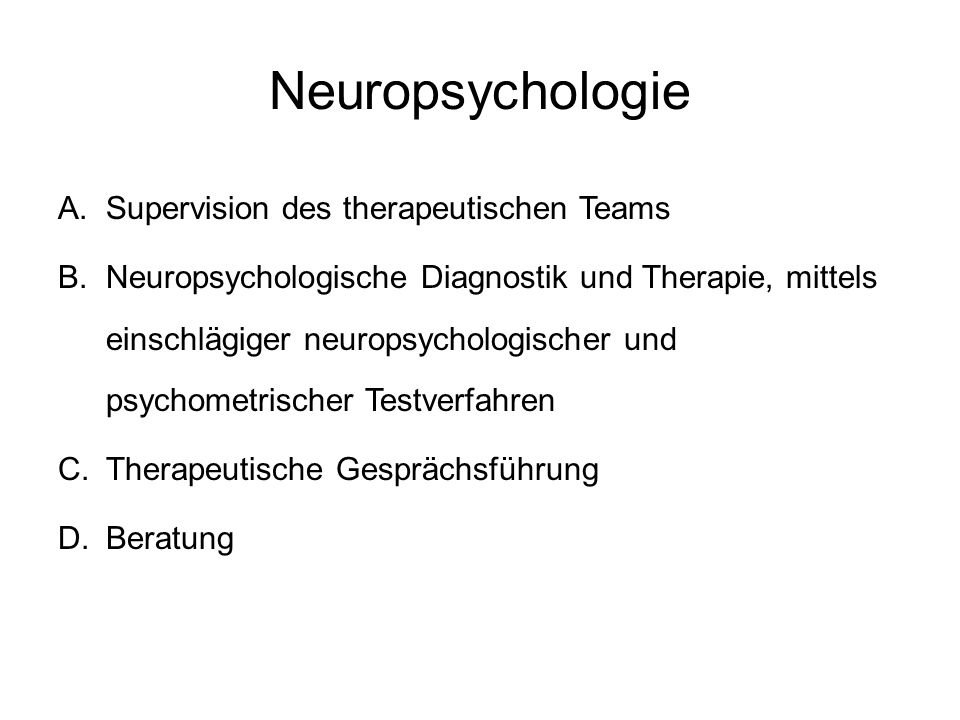 Neuropsychologie Supervision des therapeutischen Teams