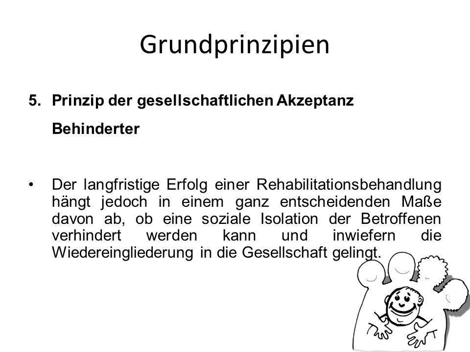 Grundprinzipien Prinzip der gesellschaftlichen Akzeptanz Behinderter
