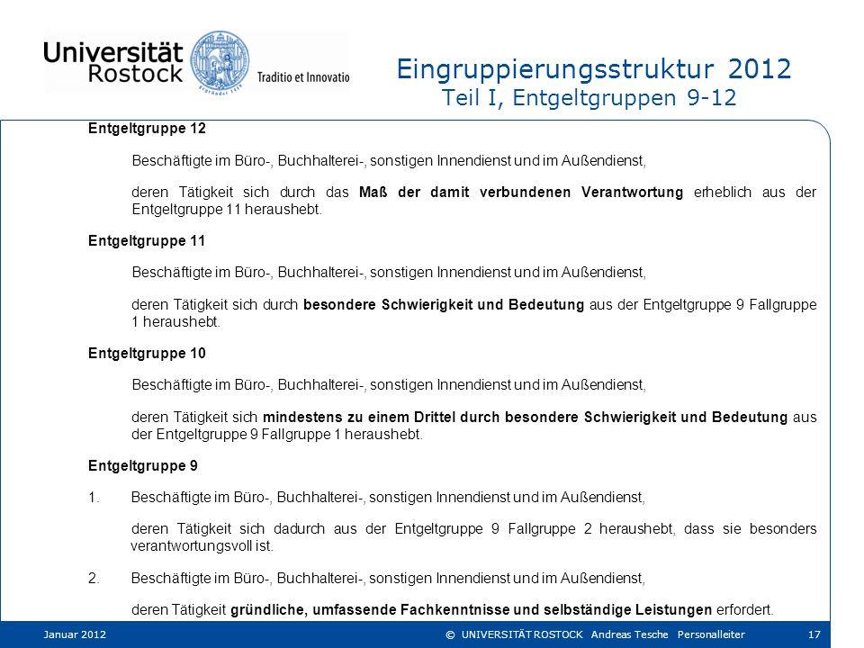 Eingruppierungsstruktur 2012 Teil I, Entgeltgruppen 9-12