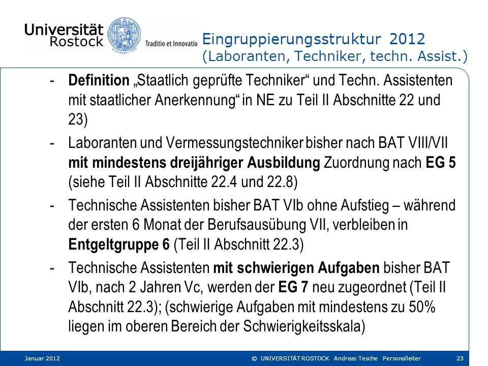 Eingruppierungsstruktur 2012 (Laboranten, Techniker, techn. Assist.)