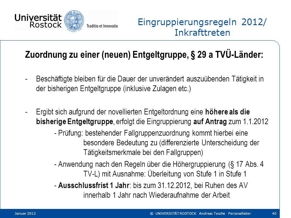 Eingruppierungsregeln 2012/ Inkrafttreten