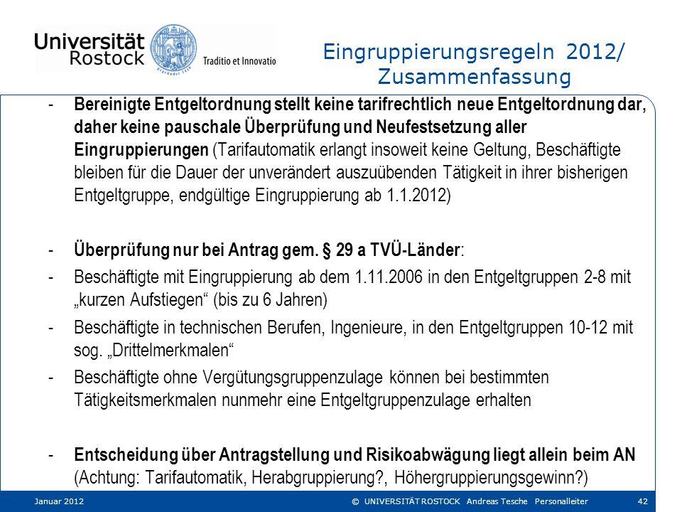 Eingruppierungsregeln 2012/ Zusammenfassung