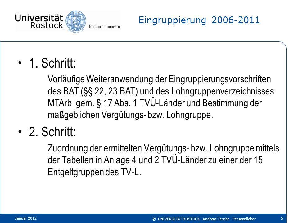 Eingruppierung 2006-2011 1. Schritt:
