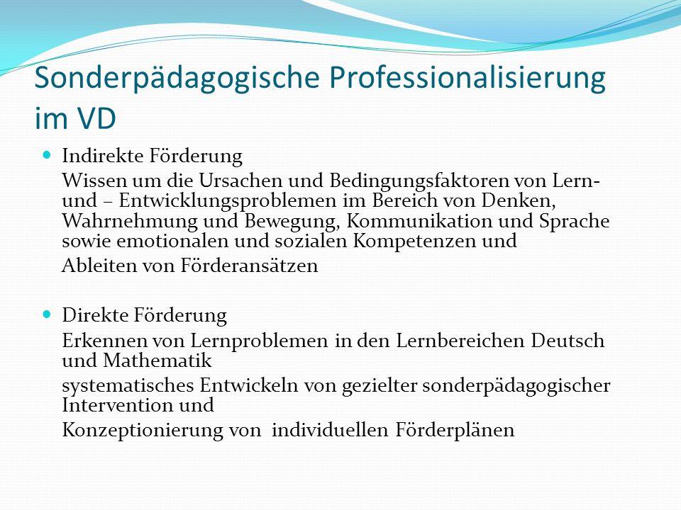 Sonderpädagogische Professionalisierung im VD